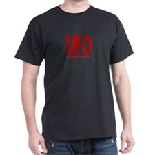 UFO (Red/Rust) - Black T-Shirt