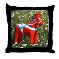 Horse in Flowers Throw Pillow
