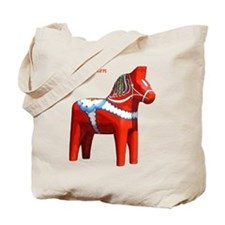 Dala Horse Tote Bag with Flag on Reverse