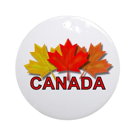 Canadian Maple Leaves Ornament (Round)