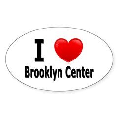 I Love Brooklyn Center Oval Sticker (50 pk)