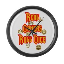 Real Gamers Roll Dice Large Wall Clock