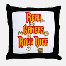 Real Gamers Roll Dice Throw Pillow