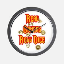 Real Gamers Roll Dice Wall Clock