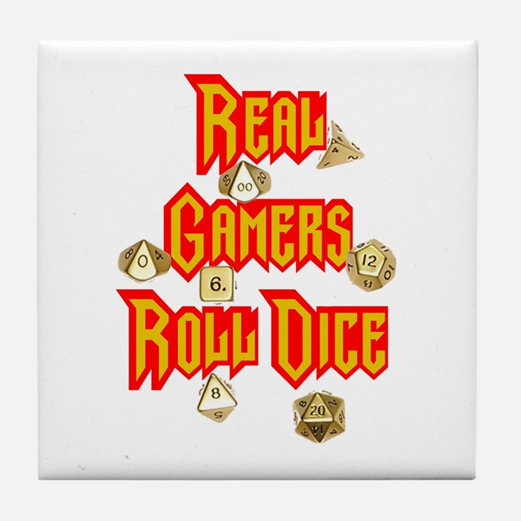 Real Gamers Roll Dice Tile Coaster