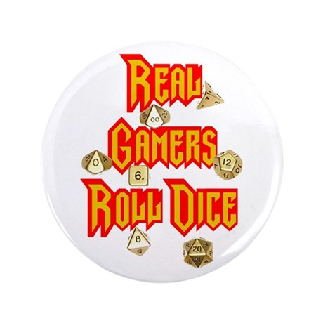 """Real Gamers Roll Dice 3.5"""" Button (100 pack)"""