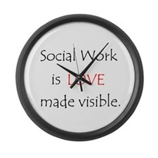 SocialWork is Love Large Wall Clock