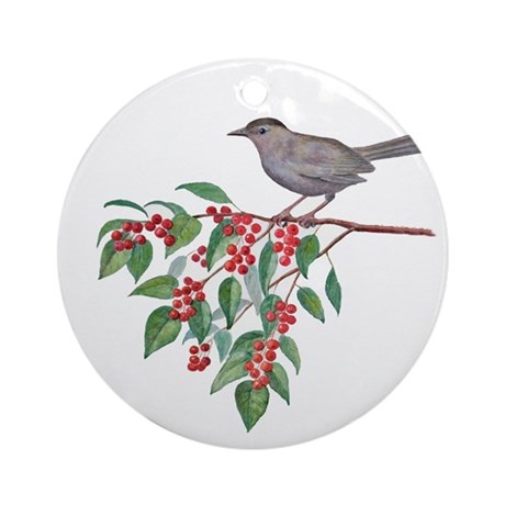 bird with berries ornament