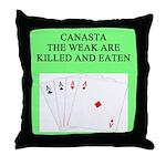 canasta player Throw Pillow