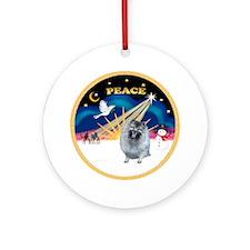 Xmas Sunrise (Peace)-Keeshond (F) Ornament (Round)