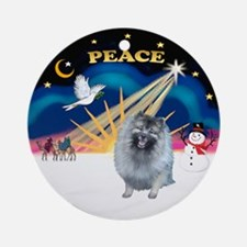 Xmas Sunrise (Peace)-Keeshond (F) Ornament (Round)