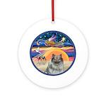 Xmas Star - Keeshond (F) Ornament (Round)
