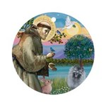 St Francis - Keeshond (F) Ornament (Round)