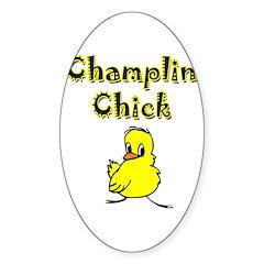 Champlin Chick Oval Sticker (10 pk)