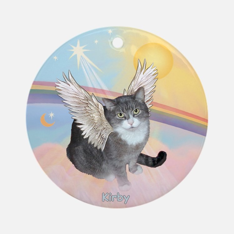 Cat Angel Kirby Ornament (Round)