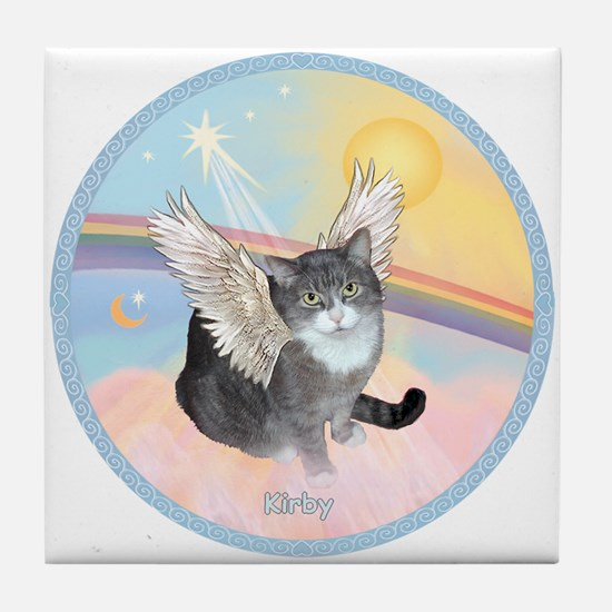 Cat Angel Kirby Tile Coaster