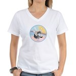 Cat Angel Kirby Women's V-Neck T-Shirt