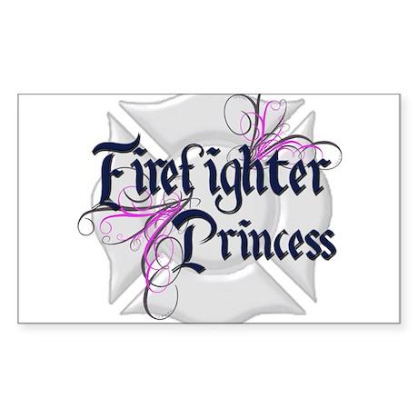 Firefighter Princess Tribal Rectangle Sticker