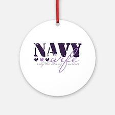 Navy Wife ... [purple] Ornament (Round)