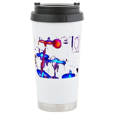 blue drums with mic Stainless Steel Travel Mug
