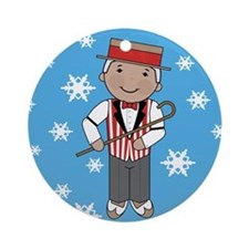 Barbershop Singer Christmas Ornament (Round)