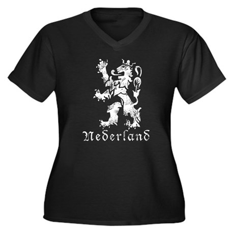 Netherlands - Lion Women's Plus Size V-Neck Dark T