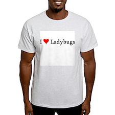 I Love Ladybugs Ash Grey T-Shirt