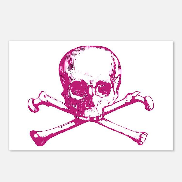 Hot Pink Cross Bones Postcards (Package of 8)