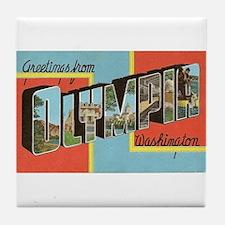 Greetings from Olympia WA Tile Coaster