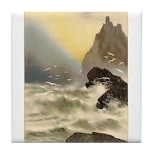 Breakers on Rocks Vintage Art Tile Coaster