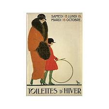 Toilettes d'Hiver Vintage Art Rectangle Magnet