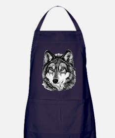 Painted Wolf Grayscale Apron (dark)