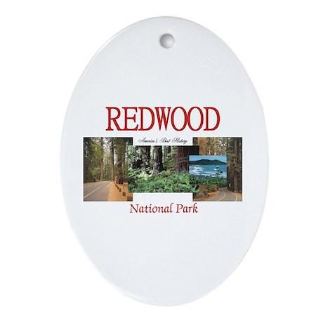 Redwood Americasbesthistory.com Oval Ornament