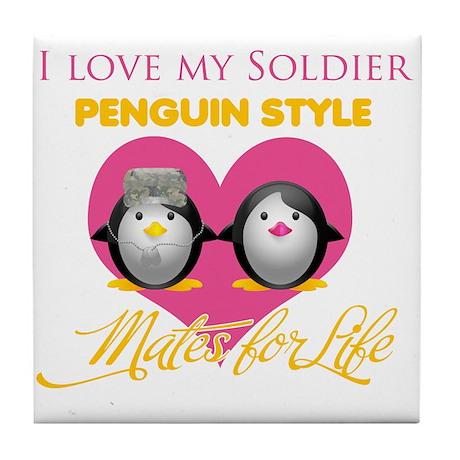 I Love My Soldier Penguin Sty Tile Coaster