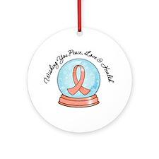 Snowglobe Uterine Cancer Ornament (Round)