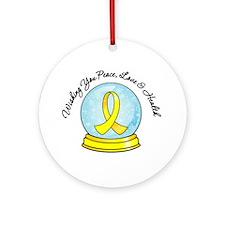 Snowglobe Testicular Cancer Ornament (Round)