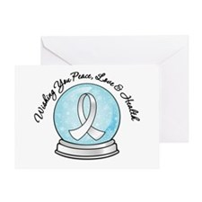 Snowglobe Lung Cancer Greeting Card