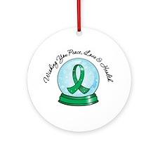 Snowglobe Liver Cancer Ornament (Round)