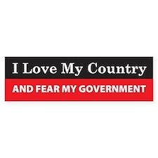 Fear My Government Bumper Bumper Sticker