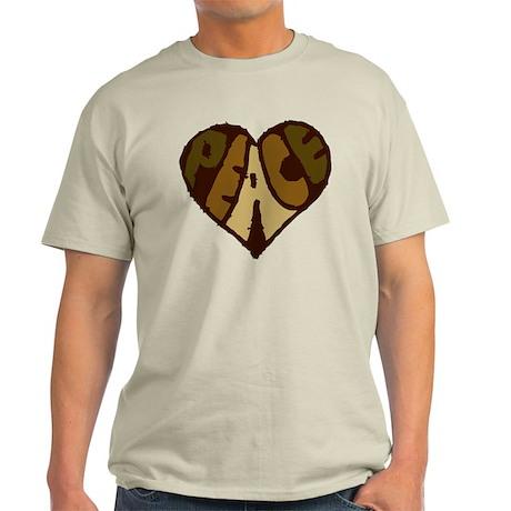 Earthtone Peace Heart Light T-Shirt
