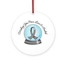 Brain Cancer Snowglobe Ornament (Round)