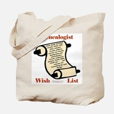 Genealogy Wish List Tote Bag