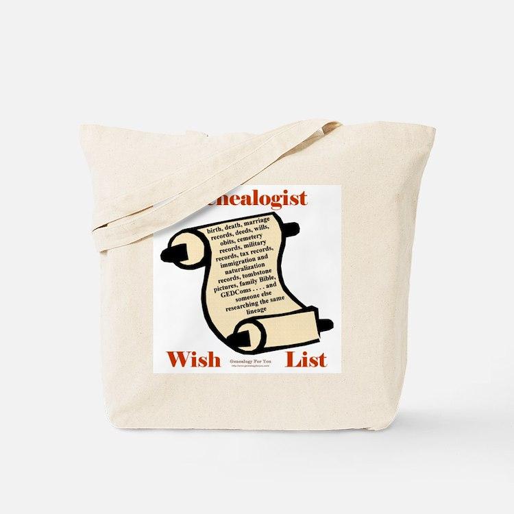 Genealogy Wish List Tote Bag