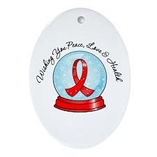 Blood Cancer Snowglobe Oval Ornament