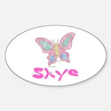 Pink Butterfly Skye Oval Decal