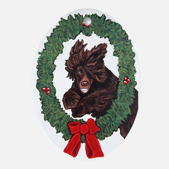 Cute Irish water spaniel Oval Ornament