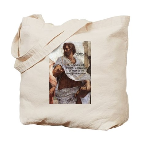 Aristotle Education Quote Tote Bag
