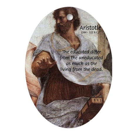 Aristotle Education Quote Oval Ornament