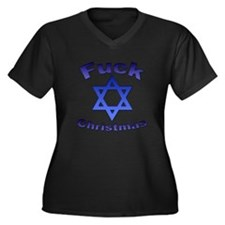 Fuck X-mas 2 Women's Plus Size V-Neck Dark T-Shirt