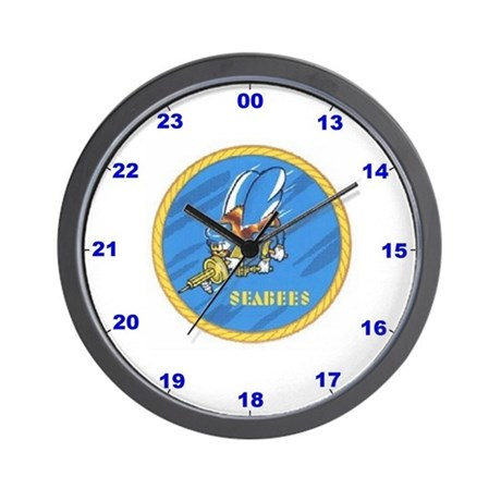 Wall Clock With Seabee Logo